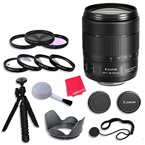 Canon EF-S 18-135mm f/3.5-5.6 Image Stabilization USM Lens (Black) Lens Bundle with 67mm 3 Piece Filter Kit for Canon EOS 80D Digital SLR Camera by Celltime Inc.