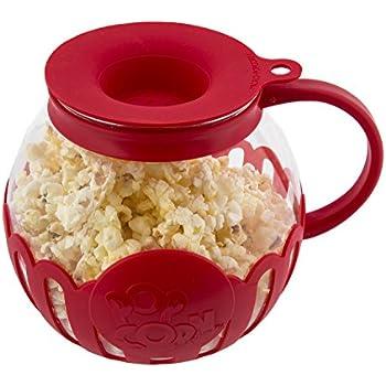 Ecolution Micro-Pop Microwave Popcorn Popper 1.5QT - Temperature Safe Glass w/Multi Purpose Lid, Snack Size, Red