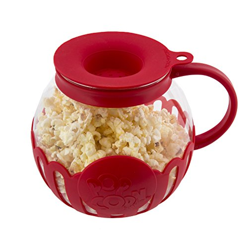 Ecolution Micro-Pop Microwave Popcorn Popper 1.5QT - Temperature Safe Glass w/Multi Purpose Lid, Snack Size, Red