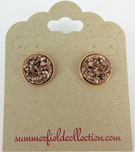 Rose Gold-tone Metallic Faux Druzy Stone Stud Earrings 12mm