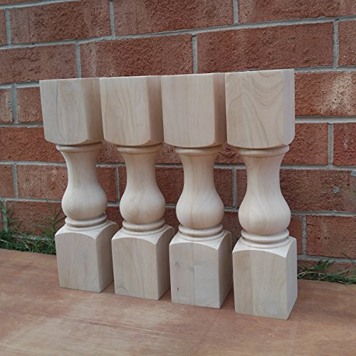 18'' Traditional Bench Legs or Coffee Table Legs- Unfinished Wood, Wide- Set of 4 by Design 59 inc