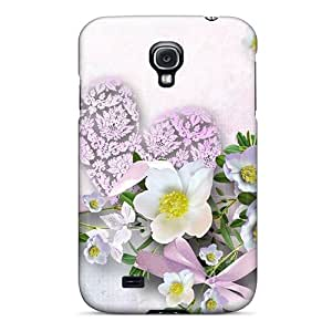 AMGake Case Cover Protector Specially Made For Galaxy S4 Heart Shaped Flowers And Teddy Bear