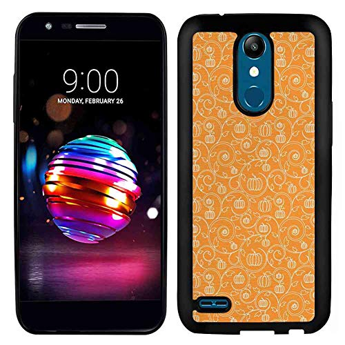 LG K10 (2017) 5.3 Version TPU Phone Case Harvest Pattern with Pumpkin Leaves and Swirls on Orange Backdrop Halloween Inspired Orange White