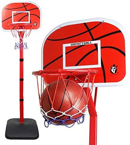 屋内バスケットボールラック 子供のバスケットボールはボールを送信するためにビッグ曲げることができるリフトアンドドロップザ・バスケットホーム屋内ボールラックスタンド スタンディングバスケットボールセット (Color : Red, Size : 0.80-2.20m)
