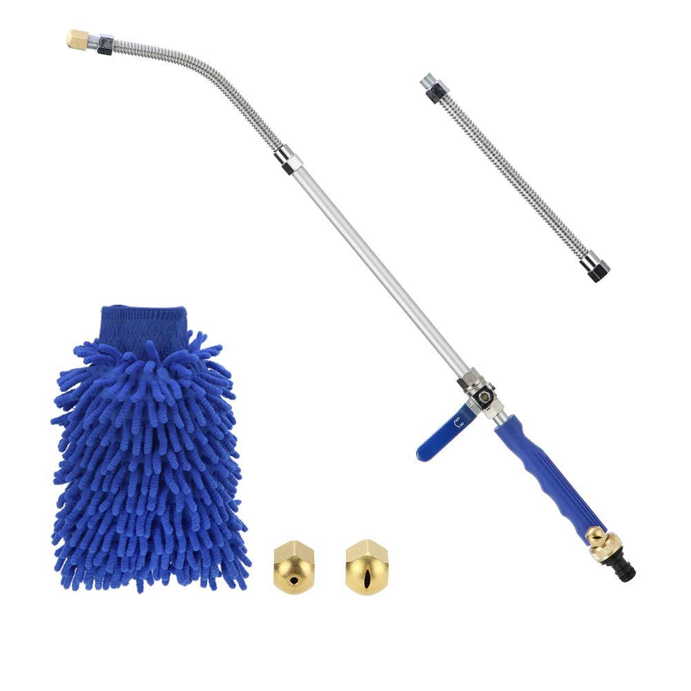 Sensphi Hydro Jet Power Washer Wand - Upgrade Water Hose Nozzle, Garden Hose Sprayer, Watering Jet for Car Wash and Window Washing, Flexible Gutter Cleaning Tool, 2 Tips (Blue 27) (Blue) by Sensphi