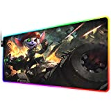 RGB Gaming Mouse Pad for League of Legends,LED Soft Extra Extended Large Mouse Pad,Anti-Slip Rubber Base,Computer Keyboard Mouse Mat 31.5 X 12 Inch(Omega Squad Tristana)