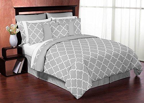 Sweet Jojo Designs Gray and White Trellis Full Length Double Zippered Body Pillow Case Cover