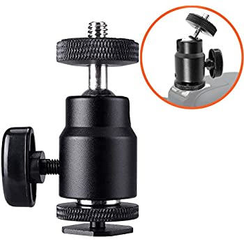 "FOTYRIG Hot Shoe Adapter 360 Degree Mini Ball Head Hot Shoe Mount w/ 1/4"" Thread for Cameras, Camcorders, Smartphone, Gopro, LED Video Light, Microphone, Video Monitor and Ring Flash Light, Black"