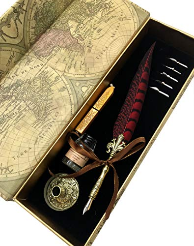 W.D Quill Antique Feather Writting Quill Pen Gold Pen Stem Calligraphy Pen Set | Best Holiday Gift (Black+Red) from W.D