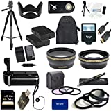 Nikon D3300 USA Ultimate Professional Accessory Bundle Package - EVERYTHING YOU WILL EVER NEED - Includes: 58mm Pro 3 Piece Multi Coated Filter Kit + 58mm Pro .43x Wide Angle Lens + 58mm Pro 2.2x Telephoto Lens + 58mm Close-Up Macro Lens Set + 2x Li-Ion Rechargeable Batteries + Rapid AC/DC External Charger + Tulip Lens Hood + Deluxe Battery Grip + 64GB SDHC Memory Card + High Speed USB Memory Card Reader + Pro SLave Flash + Pro 72 inch Tripod + Wireless Remote + Pro Gold Plated Mini HDMI Cable Deluxe + Backpack Carrying Case + Cap Keeper + Deluxe Starter Kit + Lens Cleaning Pen + rnd MicroFiber Cloth - For use with the 55-300mm lens