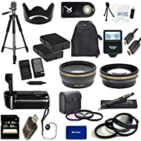 Nikon D5300 USA Ultimate Professional Accessory Bundle Package - EVERYTHING YOU WILL EVER NEED - Includes: 58mm Pro 3 Piece Multi Coated Filter Kit + 58mm Pro .43x Wide Angle Lens + 58mm Pro 2.2x Telephoto Lens + 58mm Close-Up Macro Lens Set + 2x Li-Ion Rechargeable Batteries + Rapid AC/DC External Charger + Tulip Lens Hood + Deluxe Battery Grip + 64GB SDHC Memory Card + High Speed USB Memory Card Reader + Pro SLave Flash + Pro 72 inch Tripod + Wireless Remote + Pro Gold Plated Mini HDMI Cable Deluxe + Backpack Carrying Case + Cap Keeper + Deluxe Starter Kit + Lens Cleaning Pen + RND MicroFiber Cloth - For use with the 55-300mm lens