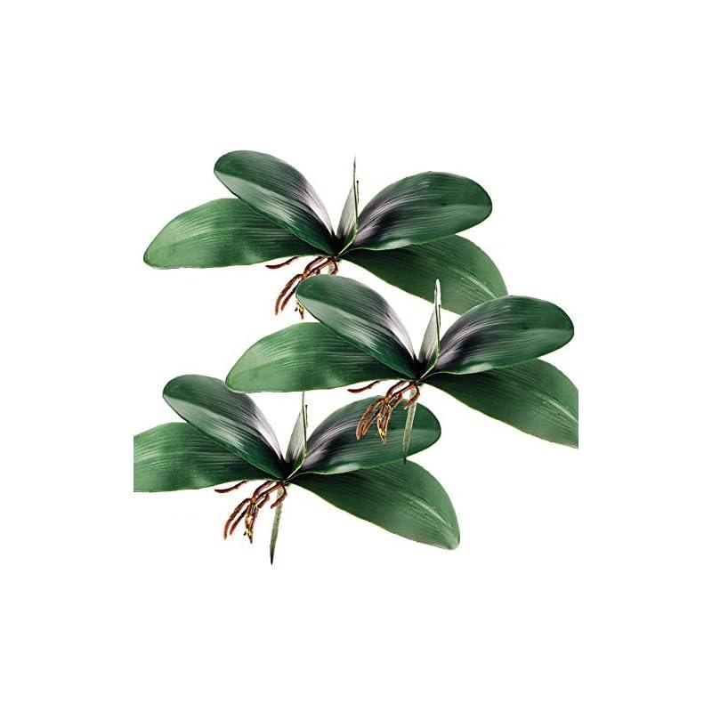 silk flower arrangements miracliy phalaenopsis orchid leaves real latex touch plants arrangement, 3 pieces
