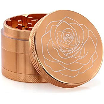 DCOU New Design Premium Aluminium Herb Grinder 2.2 Inches 4 Piece Metal Grinder with Pollen Catcher with Laser Flower Pattern