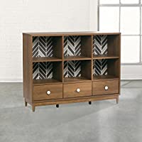 Sauder Soft Modern 6 Cubby Bookcase in Fine Walnut
