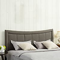 Haobo Home King Size Eastern King / California King Nailhead Linen Upholstered Headboard with Curved Top 3 Height Adjustments Gray