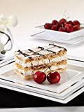Imperial Premium Square China Like White/silver 40 Pieces Plastic Plates Package, Wedding and Party Dinnerware (Includes 20 8inch Sq. Plates, 20 10.75inch Sq. Plates).