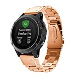 iumei For Garmin Fenix 5 Watch Bands, Stainless Steel Replacement Strap Bracelet, Accessory for Garmin Fenix 5 Watch (Rose Gold)
