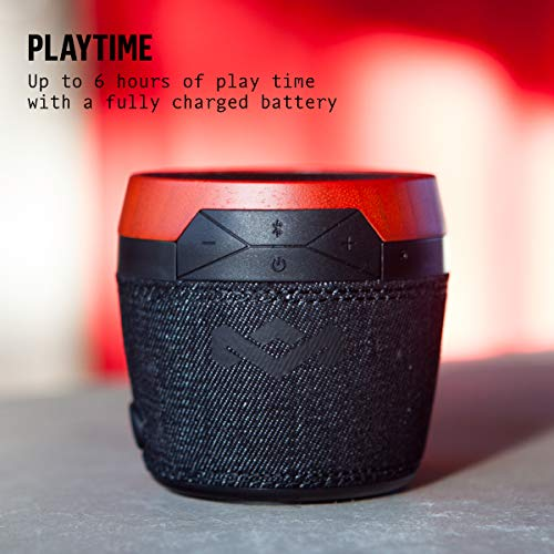 House of Marley, Chant Mini Bluetooth Portable Wireless Speaker, Splash Resistant IPX4, Full Range Sound, Integrated Mic for Use as Speaker Phone, Carabiner, Sustainably Crafted, EM-JA007-BK Black