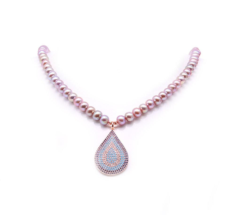 JYX 5-6mm Lavender Freshwater Cultured Pearl Pendant Necklace 16''