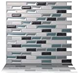 backsplash tile pictures Tic Tac Tiles Anti-Mold Peel and Stick Wall Tile in Como Marrone (10 Tiles)