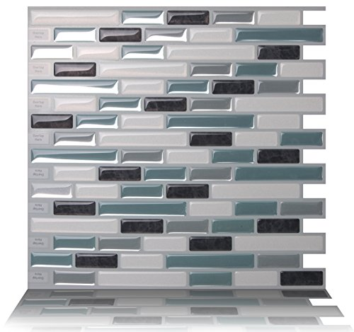 Accent Glass Wall Tile - Tic Tac Tiles Anti-Mold Peel and Stick Wall Tile in Como Marrone (10 Tiles)
