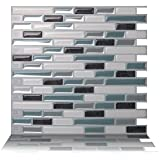 Tic Tac Tiles 10-Sheet Peel and Stick Self Adhesive Removable Stick On Kitchen Backsplash Bathroom 3D Wall Sticker Wallpaper Tiles in Como Marrone