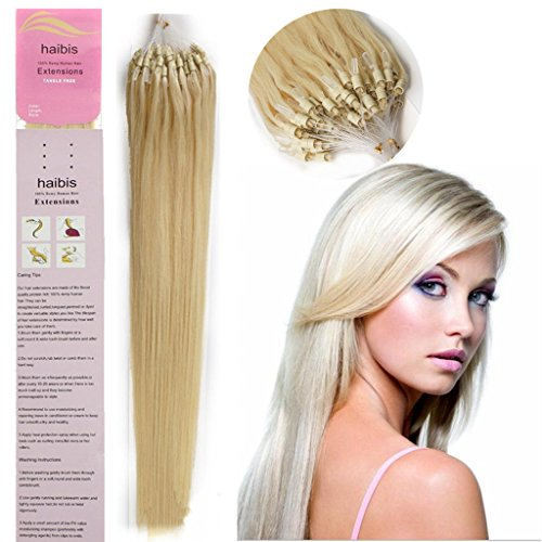 haibis 16''-22'' Straight Micro Loop Remy Human Hair Extensions with Double Silicone Ring Beads Tipped 1g/s 100s(18'',#60 White Blonde)
