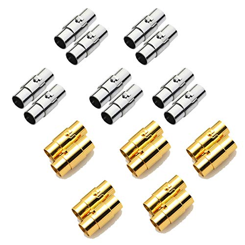 REVEW 20PCS Cord End Caps for Jewelry Making, Magnetic Clasps for Leather with Locking Leather Rope Necklace/Bracelet Buckle(Silver Gold 4)