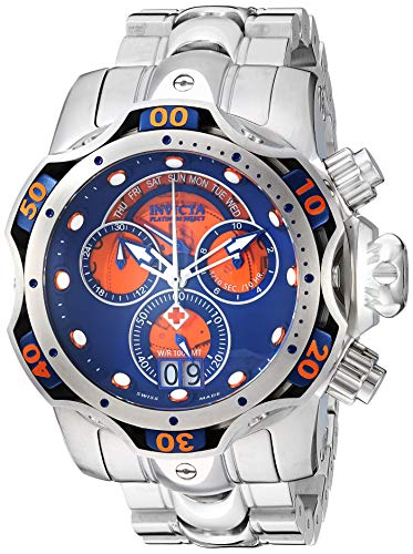 Invicta Men's Venom Quartz Watch with Stainless Steel Strap, Silver, 26 (Model: 26136)