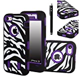 iPhone 5C Case, E LV iPhone 5C case - heavy Duty Rugged Dual Layer Hybrid Armor Defender Case Cover for iPhone 5C with 1 Screen Protector, 1 Black Stylus and 1 Microfiber - ZEBRA PURPLE