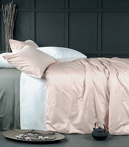 Eikei Rose Gold Duvet Cover Luxury Bedding Set High Thread Count Egyptian Cotton Sateen Silky Soft Blush Pale Pink Solid Colored (King, Rose Dust)