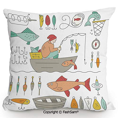 Home Super Soft Throw Pillow Fishing Gear Fisherman in The Boat Catching Fish Rod Bobber Tackle Hook Clip Work for Sofa Couch or Bed(24