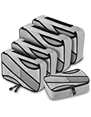 Packing Cubes, 5 Pcs Travel Luggage Organizer Set Traveling Suitcase Accessories Mesh Bags in 3 Various Sizes Large Medium & Small(Grey)
