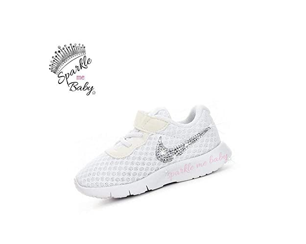 2cb7f119e Amazon.com  Swarovski Nike Tanjun All White Toddler Bedazzled Shoes Bling  Nike Customized for you by Sparkle Me Baby 2U  Handmade