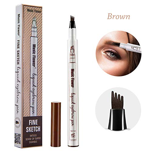 Tattoo Eyebrow Pen Waterproof Tint with Four Tips Long Lasting SmudgeProof Natural HairLike Defined All Day Brown