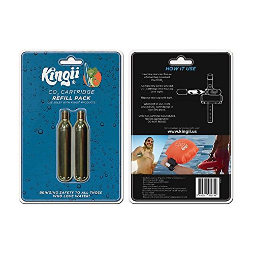Kingii 12g CO2 DISPOSABLE CARTRIDGE 3/8 threaded with 24 threads per inch - 2-Pack (Co2 12g Non Thread)