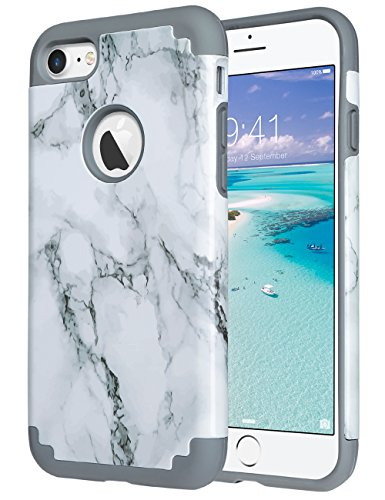 iPhone 7 Case Marble, ULAK Slim Fit TPU Plastic & Hard PC Protection Hybrid Dual Layer Anti-Scratch Shock Absorbing Cover for Apple iPhone 7 4.7 inch, Grey Marble (Plastic Tpu Skin)