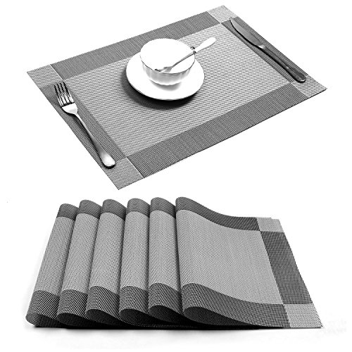 Placemat,U'Artlines Crossweave Woven Vinyl Non-slip Insulation Placemat Washable Table Mats Set of 6 (6pcs placemats, Silver-gray)