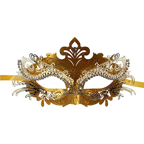 Vanki 1 Pcs Masquerade Mask Laser Cut Metal Shiny Rhinestone Party Mask,Golden Color by Vanki