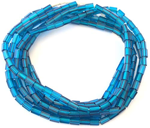 Fine Vintage Czech Russian Cut Teal Blue Faceted Glass African Trade Beads