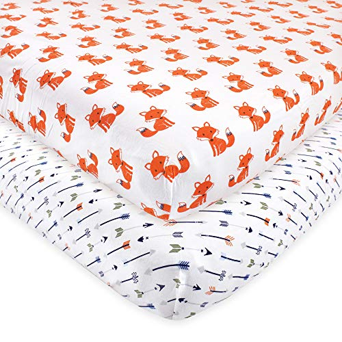 Hudson Baby Fitted Crib Sheets 2pk, Foxes, One Size