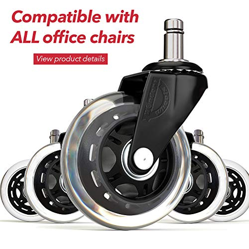 - Office chair wheels replacement rubber chair casters for hardwood floors and carpet, set of 5, heavy duty office chair casters for chairs to replace chair mats - Universal fit