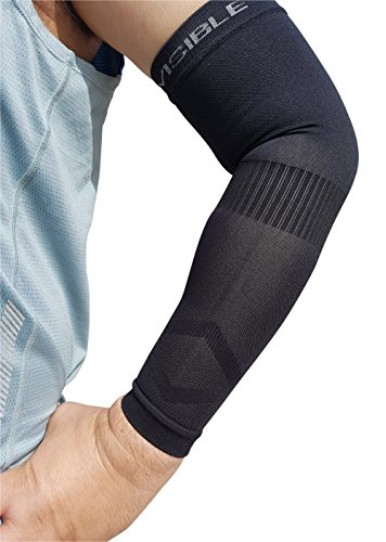 Compression Arm Sleeves - BeVisible Sports - Arm & Elbow Support For Men, Women & Youth - Boosts Circulation, Aids Faster Recovery -With SPF 50+ UV Sun Protection - 1 Pair - (Small/Medium, Black)