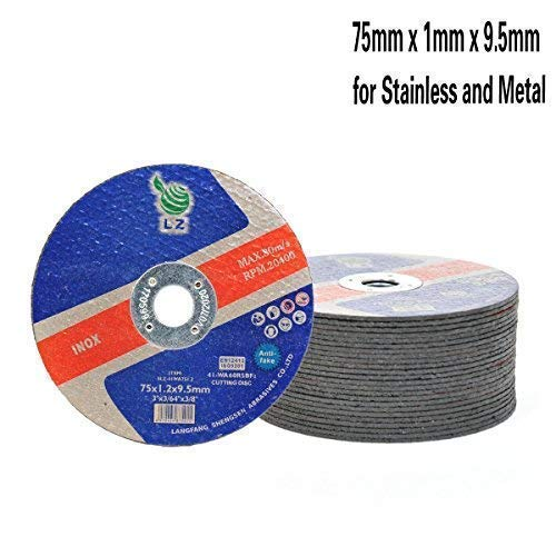 Cutting Discs Metal 75mm x 1mm x 9.5mm Set of 25 3 Air tool stainless steel cut off discs