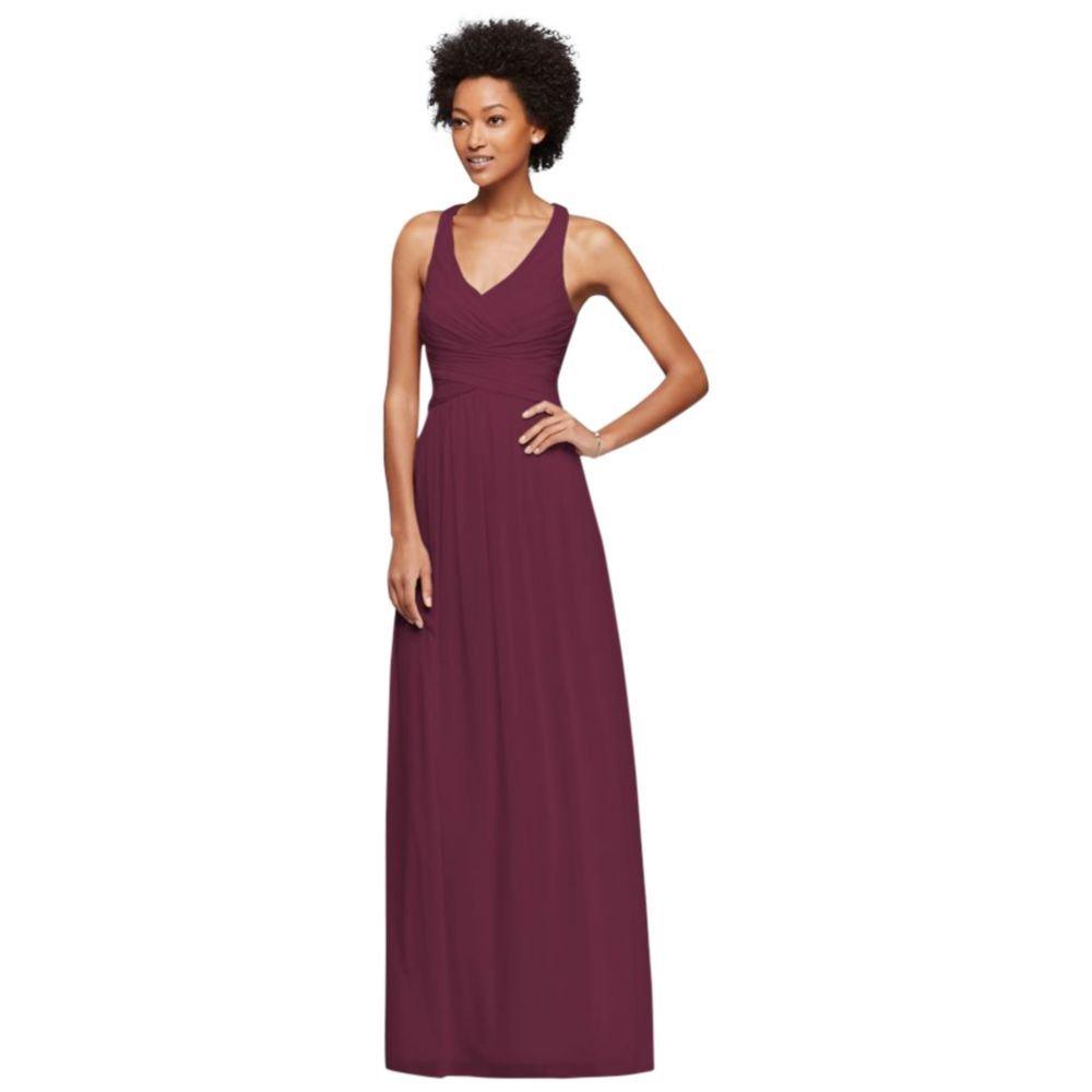 5e3b4d506e David s Bridal Long Bridesmaid Dress with Crisscross Back Straps Style  W10974 at Amazon Women s Clothing store