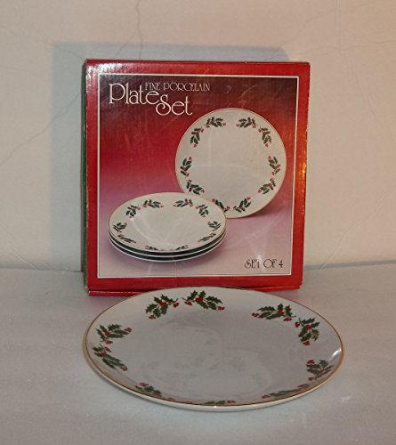 Christmas Holly Fine China of Japan 4 Salad or Luncheon Plates Porecelain Set in Box (China Plates Japan Porcelain)