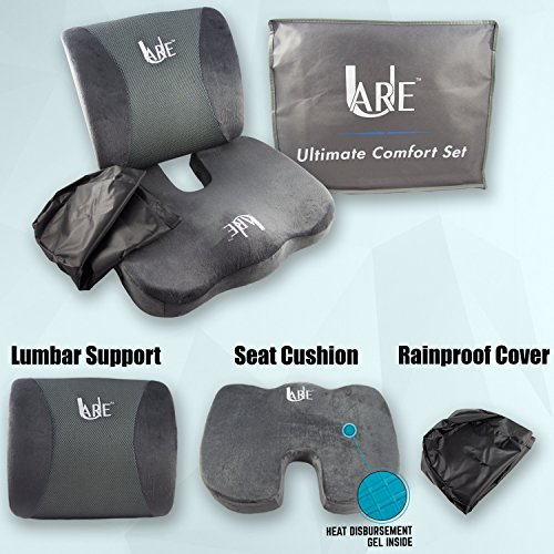 Seat Cushion For Back Pain >> Set Cool Gel Memory Foam Seat Cushion With Rain Cover And Lumbar Support Pillow For Office Chair And Car Seat Cushions Ultimate Comfort Set Relieves