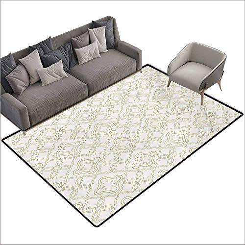Room Bedroom Floor Rug Ivory Geometric Shabby Chic Motif with Classic Effect Rococo Style Oriental Arabesque Design Non-Slip Door mat pad Machine can be Washed W70 xL110 Cream Tan