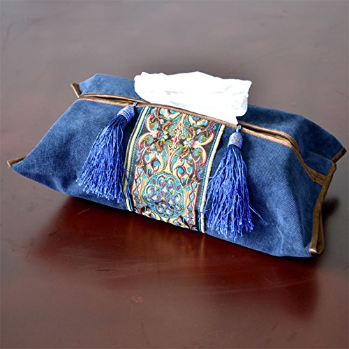 DHmart Classical Embroidery Tissue Box Cotton Napkin Holder Cover Room Car Sofa Hotel Decorative Paper Container Case Wedding Supplies
