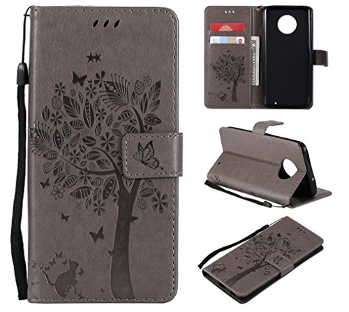 NOMO Moto G6 Plus Case,Moto G6 Plus Wallet Case,Moto G6 Plus Flip Case PU Leather Emboss Tree Cat Flowers Folio Magnetic Kickstand Cover with Card ...